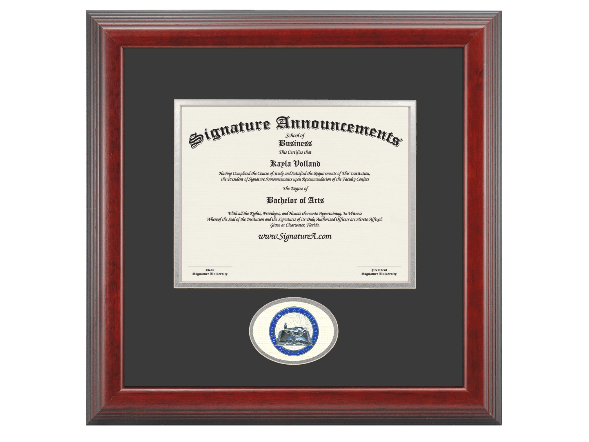 Signature Announcements Ohio-Christian-University Undergraduate, Graduate/Professional/Doctor Sculpted Foil Seal Diploma Frame, 16'' x 16'', Cherry