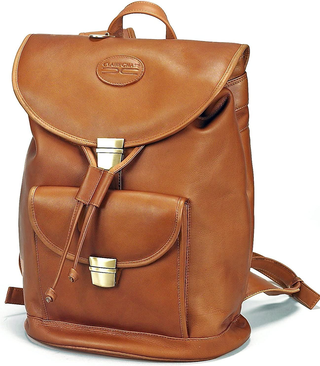 Claire Chase Classic Vaqueta Leather Laptop Backpack Tan