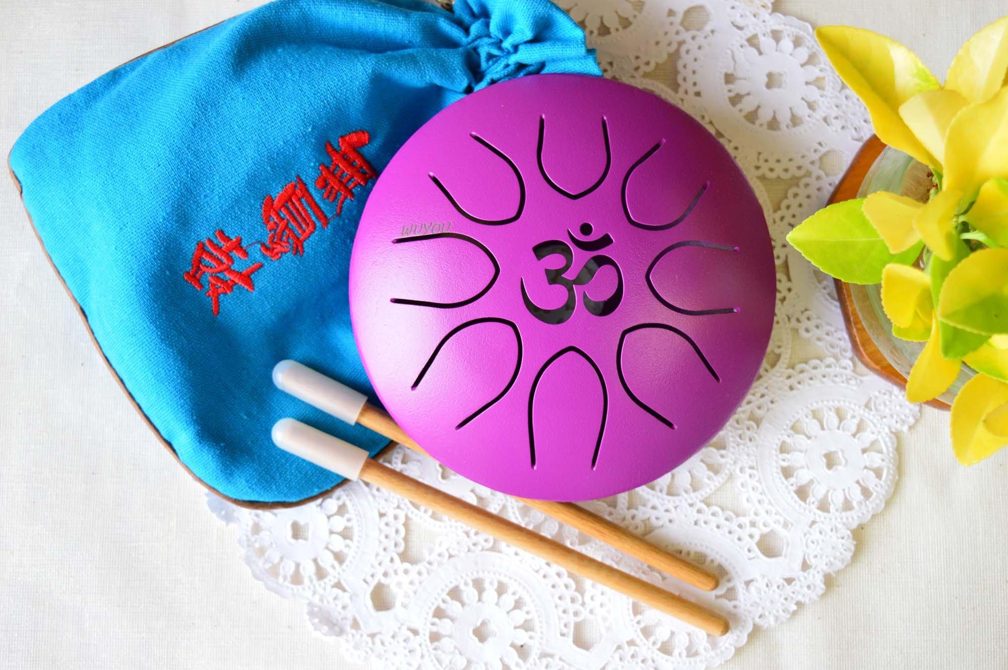 WuYou ॐ Symbol Chakra Drum Mini Tongue Drum Tank Handpan UFO series, Great for Meolodies Theropy (Purple)