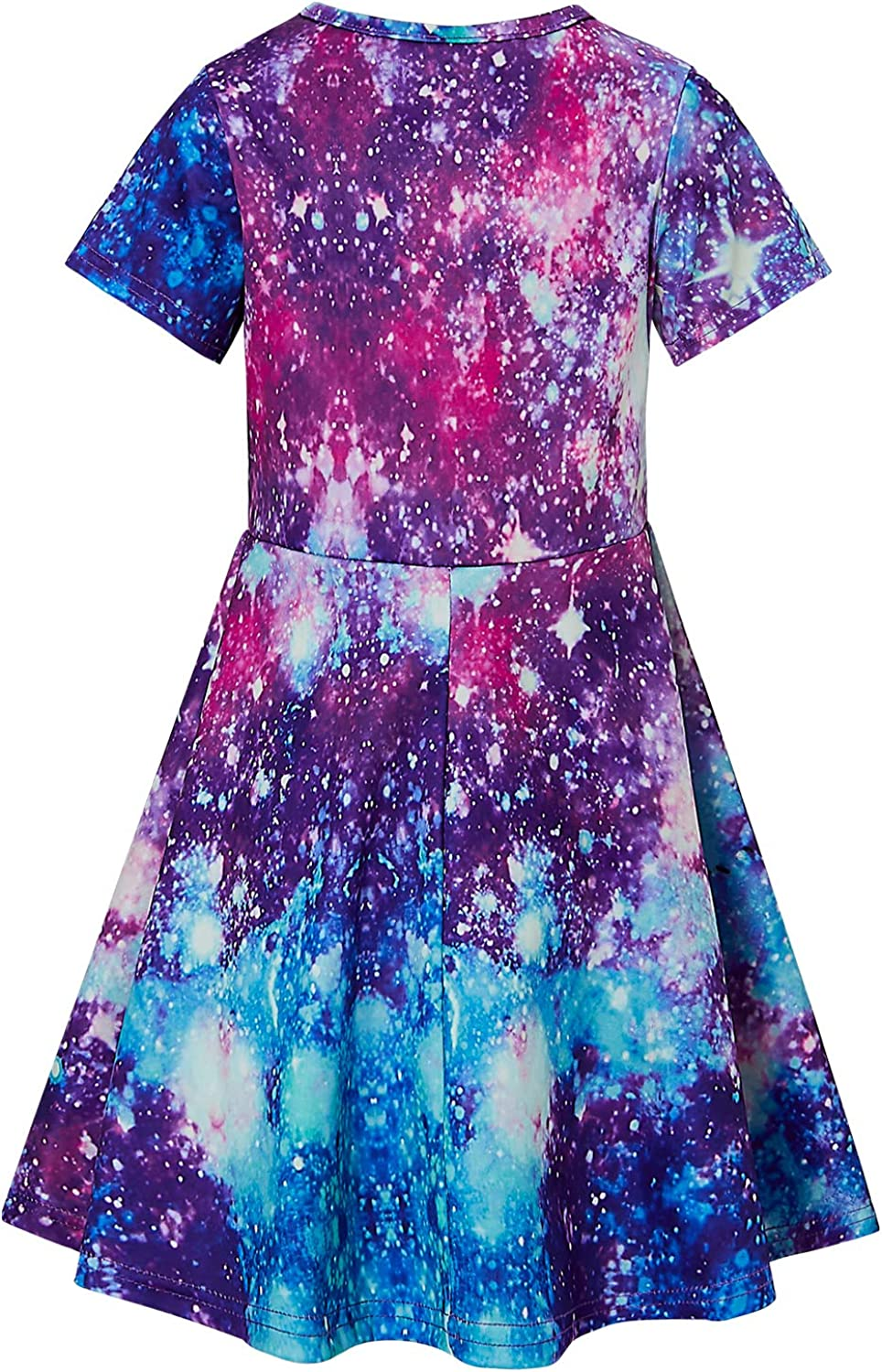 RAISEVERN Girls Short Sleeve Dress Casual Swing Skirt for Theme Holiday Party