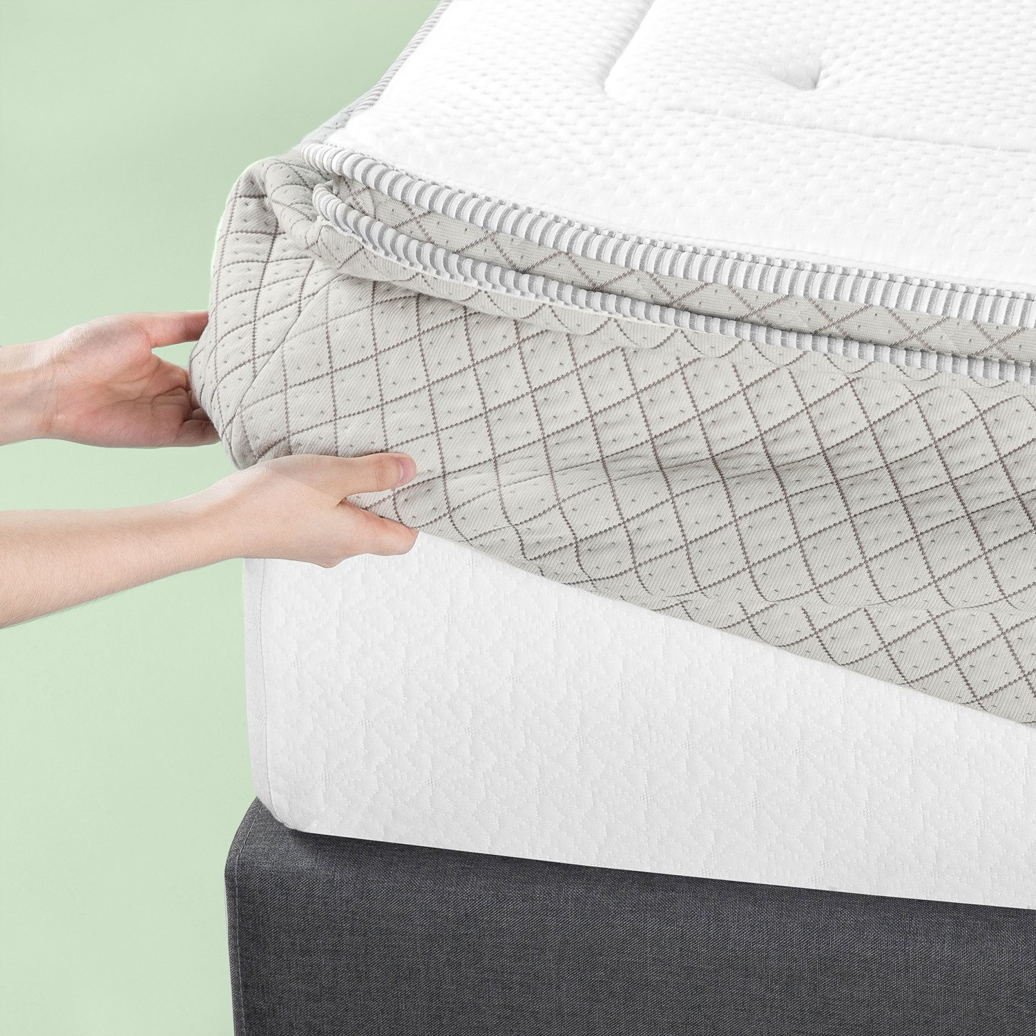 Zinus 2.5 Inch Green Tea Memory Foam Quilted Mattress Pad for Mattresses 12 Inches and under, Mattress Topper Rejuvenator, King