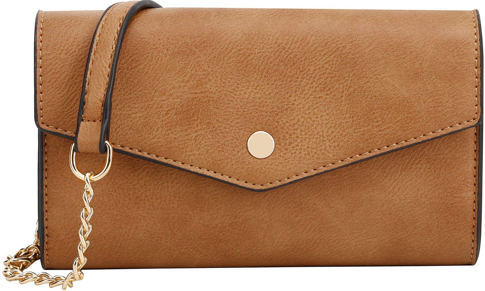 Lily Jane Women's Clutch Crossbody Wallet with Chain Strap (Mustard)