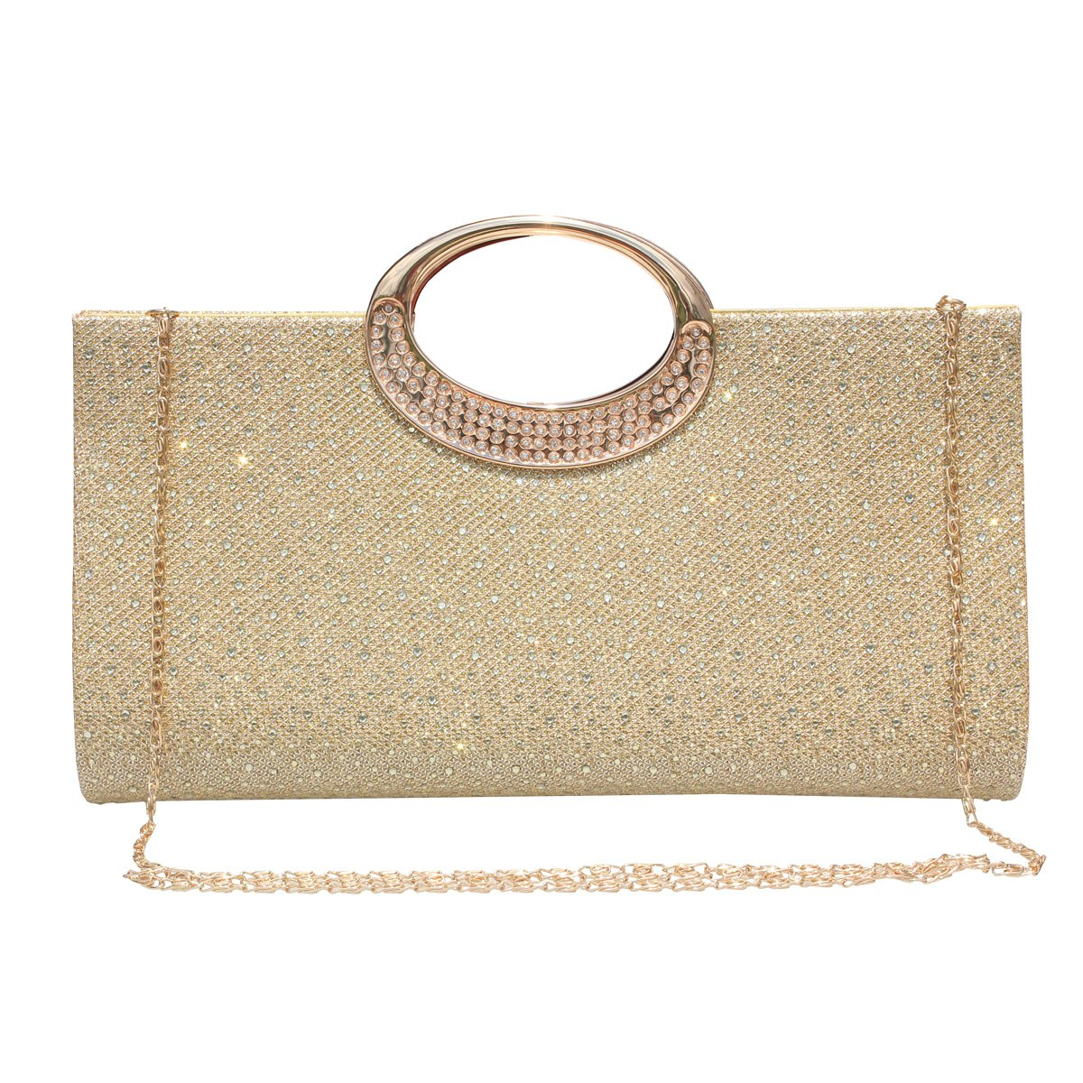 Women Rhinestone Frosted Clutch Bag Handbag Evening Party Wedding Purse.(Gold) by GESU