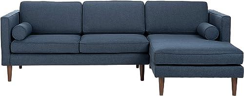 Safavieh Couture Home Dulce Mid-Century Modern Dark Blue and Dark Brown Sofa