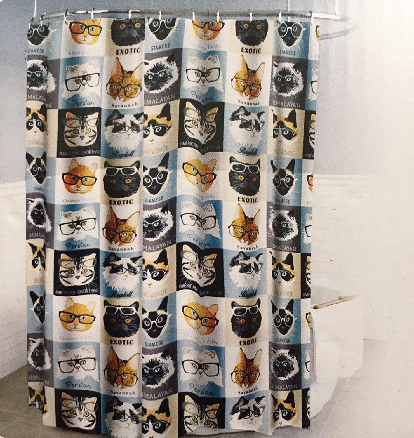 Splash Home Peva 4G Cats & Glasses Curtain Liner Design for Bathroom Showers and Bathtubs Free of Pvc Chlorine and Chemical Smell-Eco-Friendly-100% Waterproof, 72 X 70 Inch-Hazel, 70 x 72 Inch, Ice