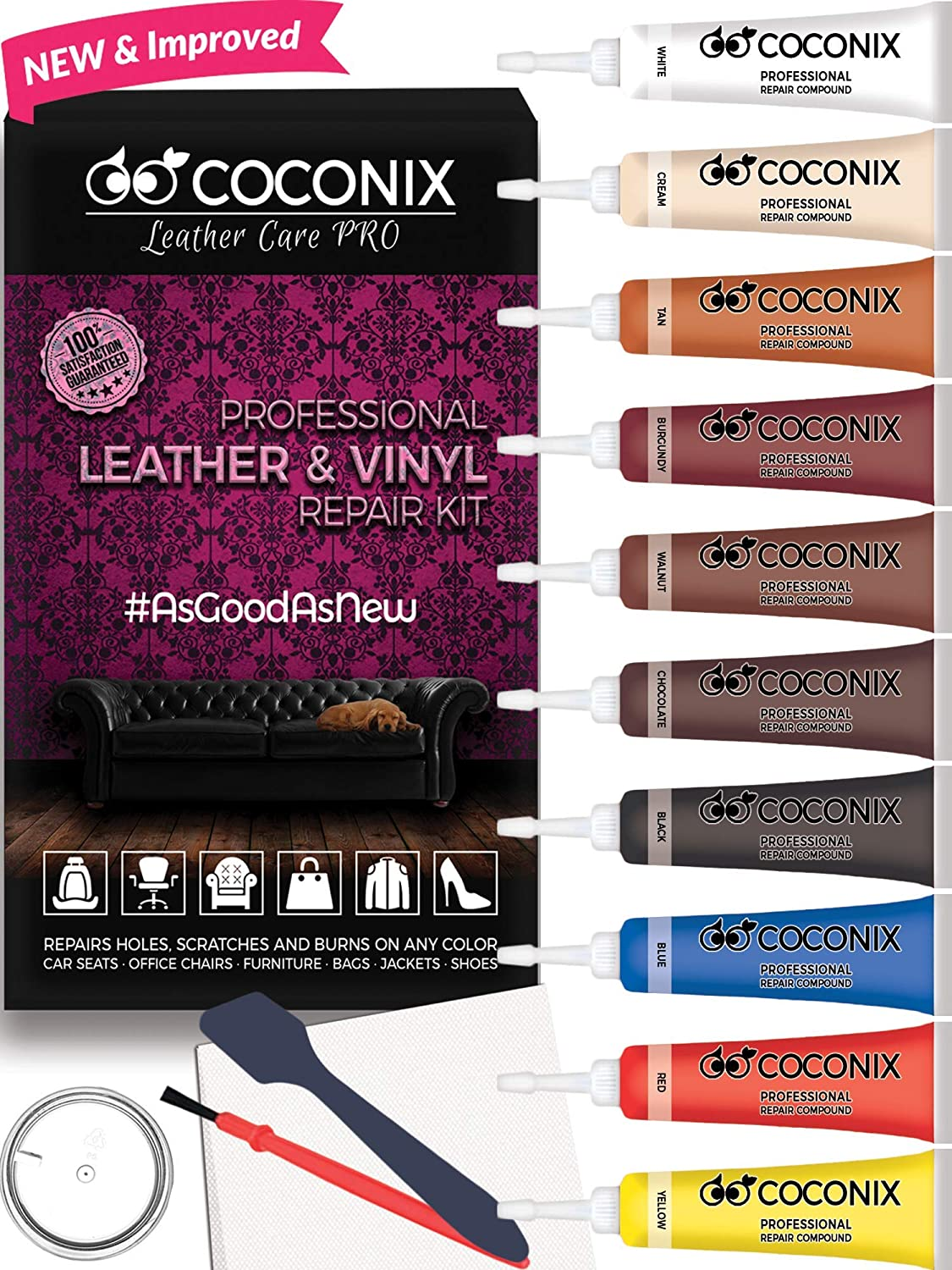 Coconix Vinyl and Leather Repair Kit - Restorer of Your Furniture, Jacket, Sofa, Boat or Car Seat