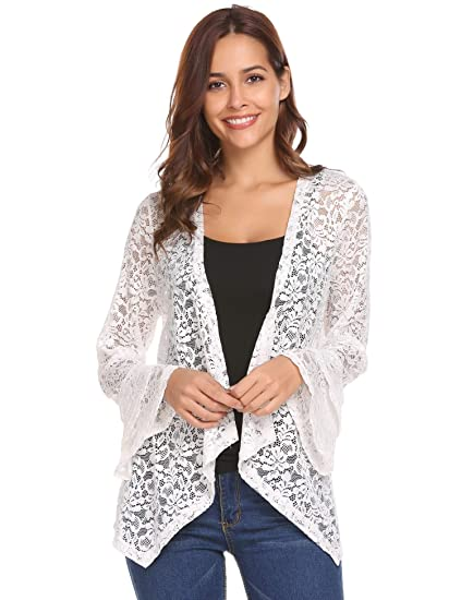 Concep Womens Bell Sleeve Cardigan Lace Crochet Casual Tops Sheer