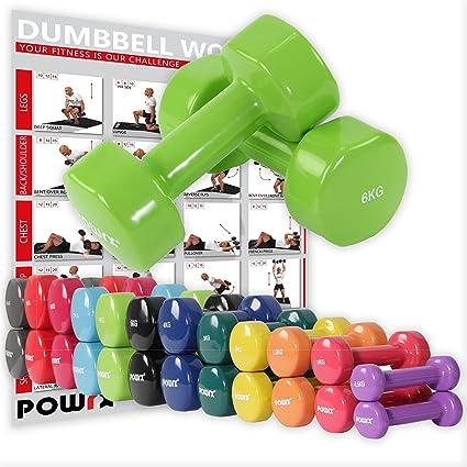 POWRX - Mancuernas vinilo 12 kg set (2 x 6 kg) + PDF Workout