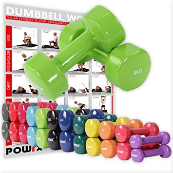 POWRX - Mancuernas vinilo 12 kg set (2 x 6 kg) + PDF Workout con 20 ejercicios (Verde): Amazon.es: Deportes y aire libre