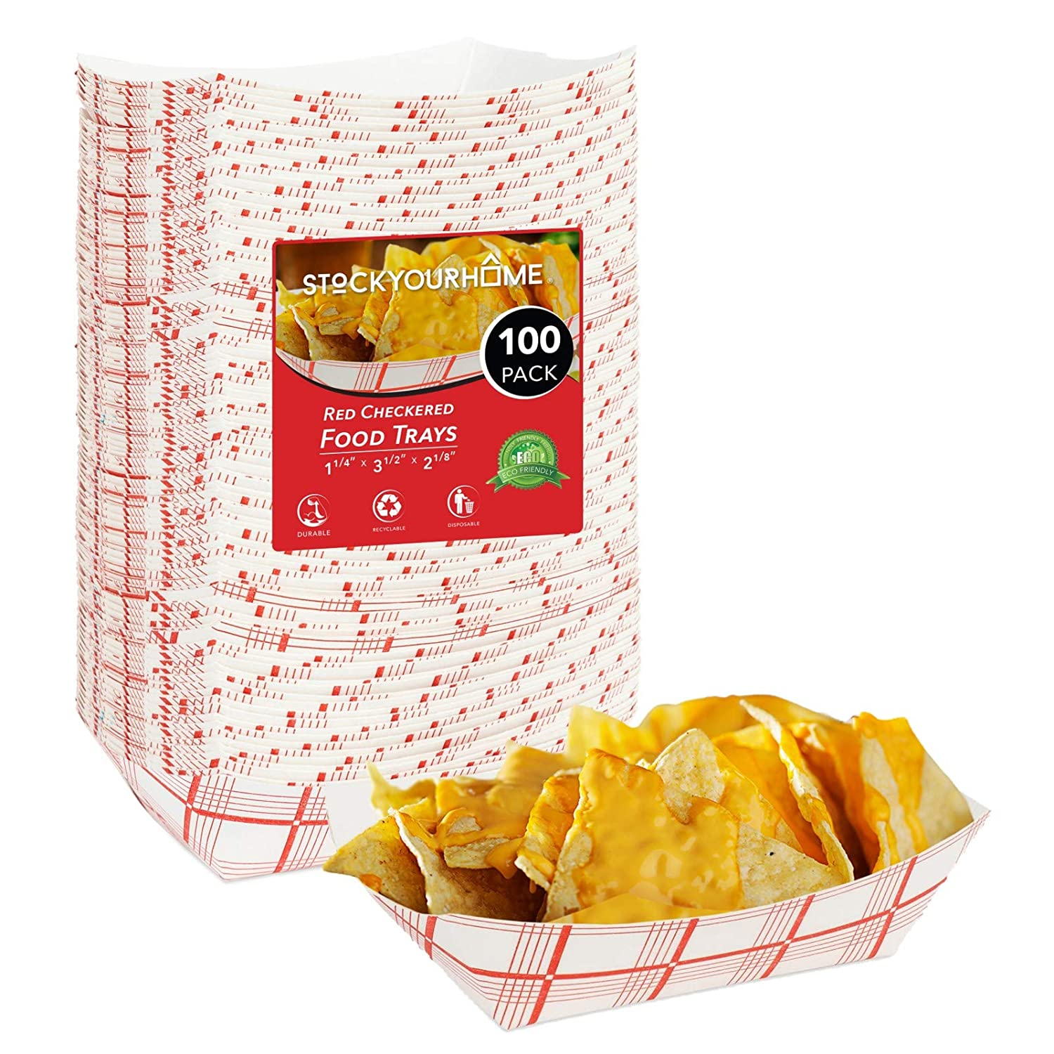 Paper Food Boats (100 Pack) Disposable Red and White Checkered Paper Food Trays - Eco Friendly Red Paper Food Trays 0.5 Lb – Serving Boats for Concession Food and Condiments, Mini Food Tray 3.75