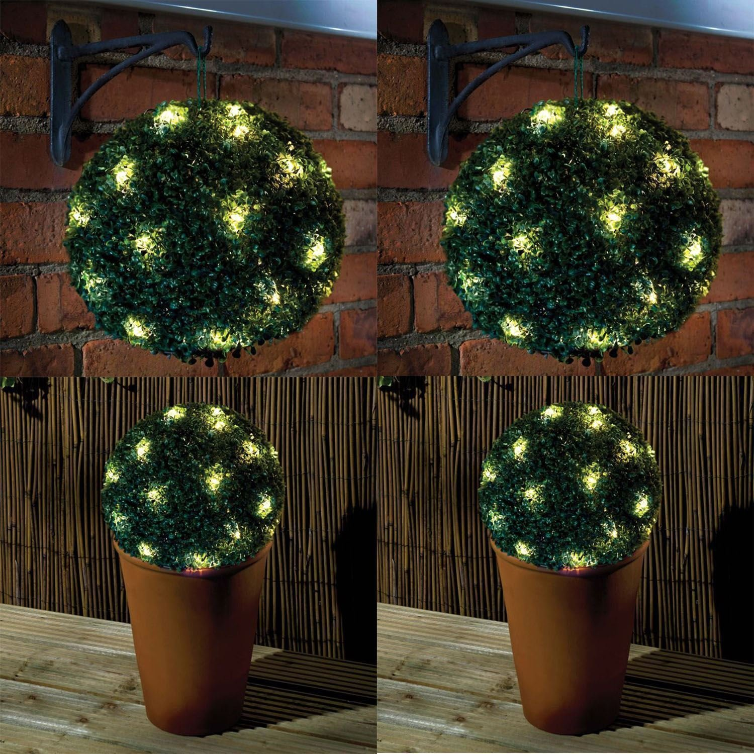 2 x 28cm Solar Powered Topiary Ball with 20 Led Lights 2 Functions Elitezotec ©