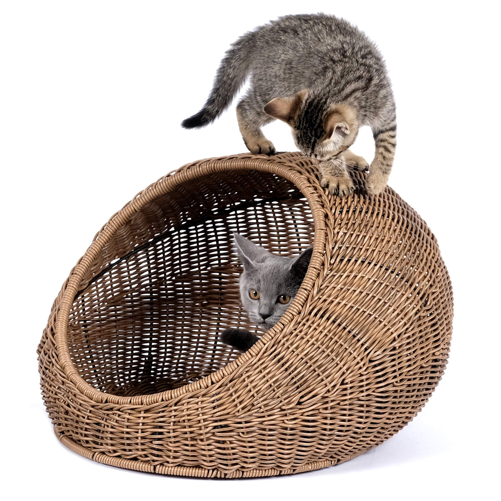 D+GARDEN Wicker Cat Bed Dome for Medium Indoor Cats - a Covered Cat Hideaway Hut of Rattan Houses Pets in Dome Basket, Washable by D+GARDEN