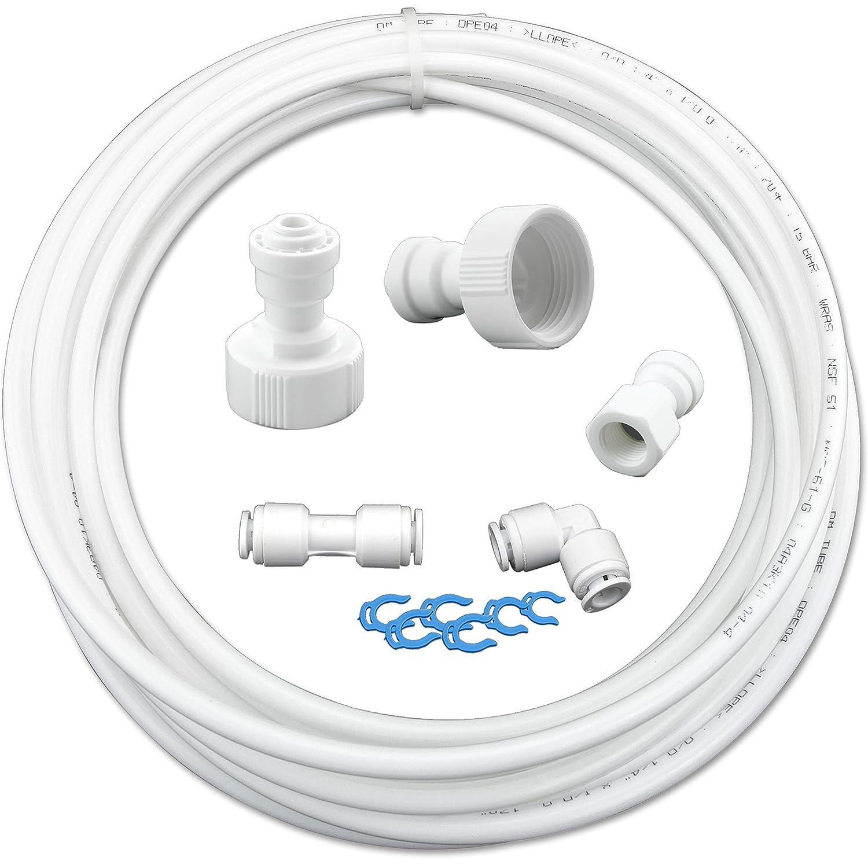 'as6K 10. Set di collegamento del tubo di ingresso acqua universale per frigorifero Side by Side. Acqua Tubo 6,4mm (1/4) Filtrotech