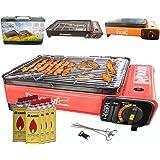 Barbecue a gas portatile da tavolo con piastra griglia e spiedi 8 cartucce di gas valigetta per il trasporto per campeggio  nero rosso arancione