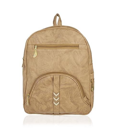 bb8e4687bd72 Kleio Girl s PU Beige Zipper Backpack  Amazon.in  Shoes   Handbags