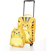 Childrens Luggage Kids Carry on Suitcase Travel Luggage Trolley and Backpack Set (Tiger Trolley/Backpack)