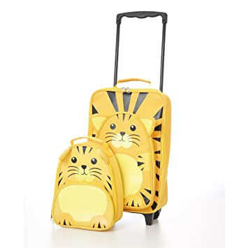4368b056e46f Small Childrens Kids Luggage Carry on Suitcase Travel Trolley and Backpack  Set (Tiger Trolley / Backpack)