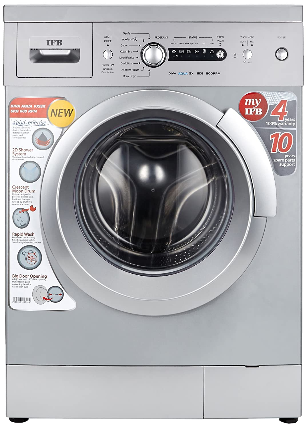 IFB 6 kg Fully-Automatic Front Loading Washing Machine (Diva Aqua SX, Silver, Inbuilt Heater)