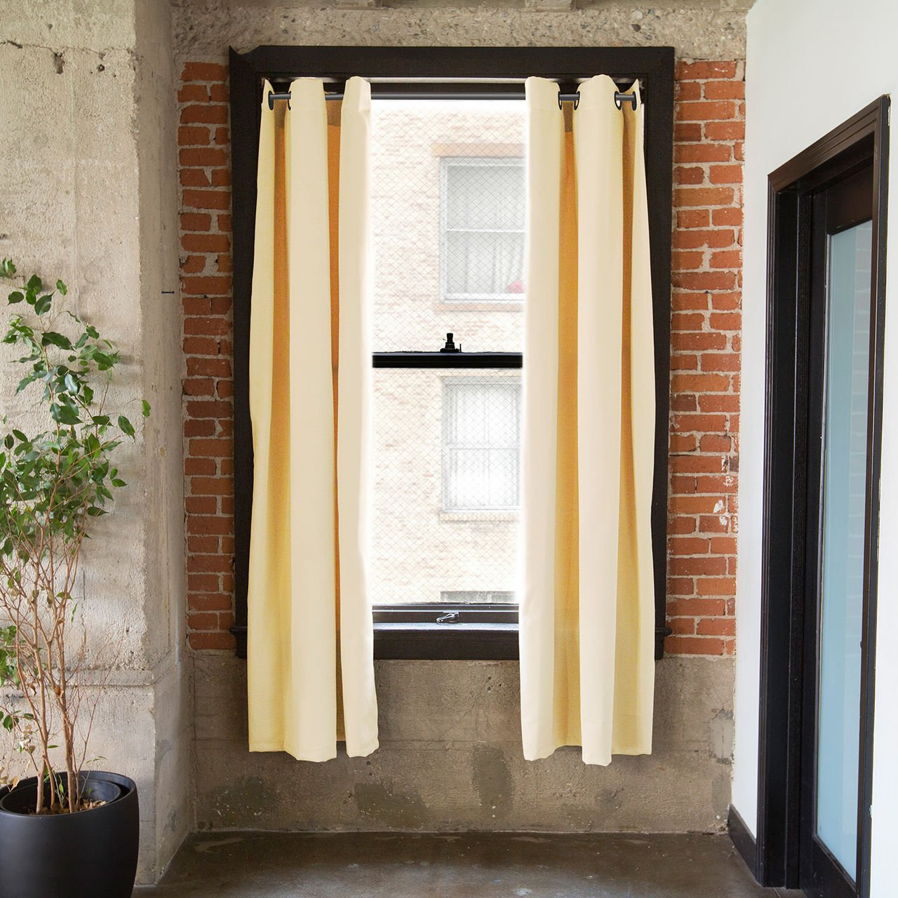 CurtainKitsNow Premium Heavyweight Tension Rod Curtain Kit - Large C, Includes Two Ivory 96'' x 50'' Wide Panels & One 80'' - 100'' Tension Rod) by CurtainKitsNow (Image #1)