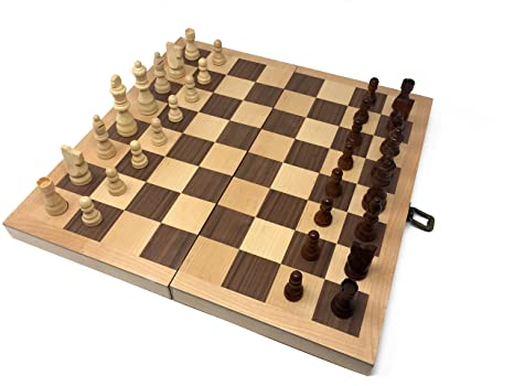 Hansen Games Classic Natural Wood Wooden Chess Set 15u201d Inlaid Board With  Hand Carved Chessmen