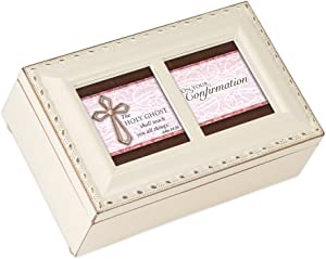 Cottage Garden Confirmation Holy Ghost Shall Teach Matte Ivory Jewelry Music Box Plays Ave Maria