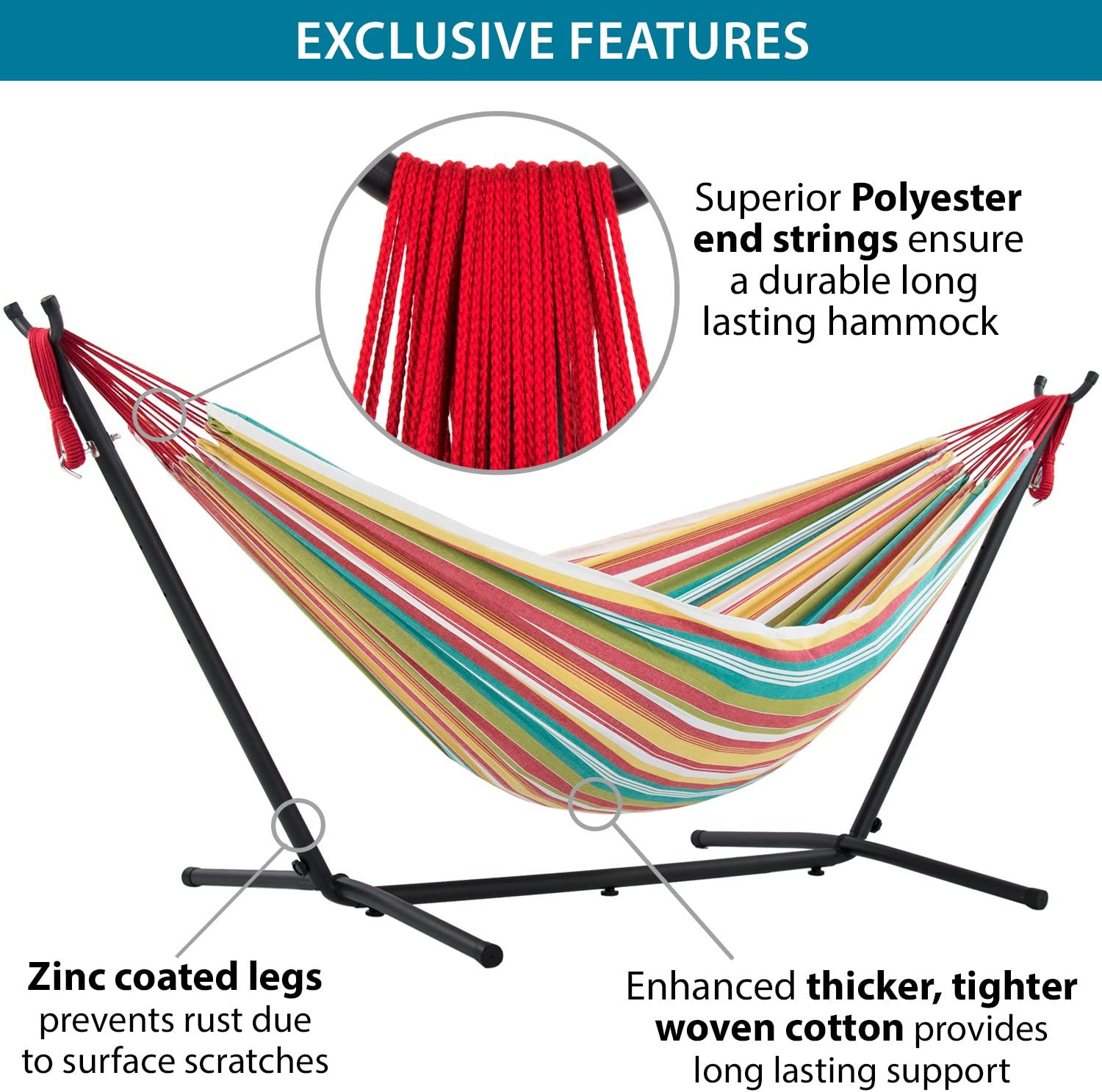 Vivere Double Hammock & 9' Steel Stand - Salsa