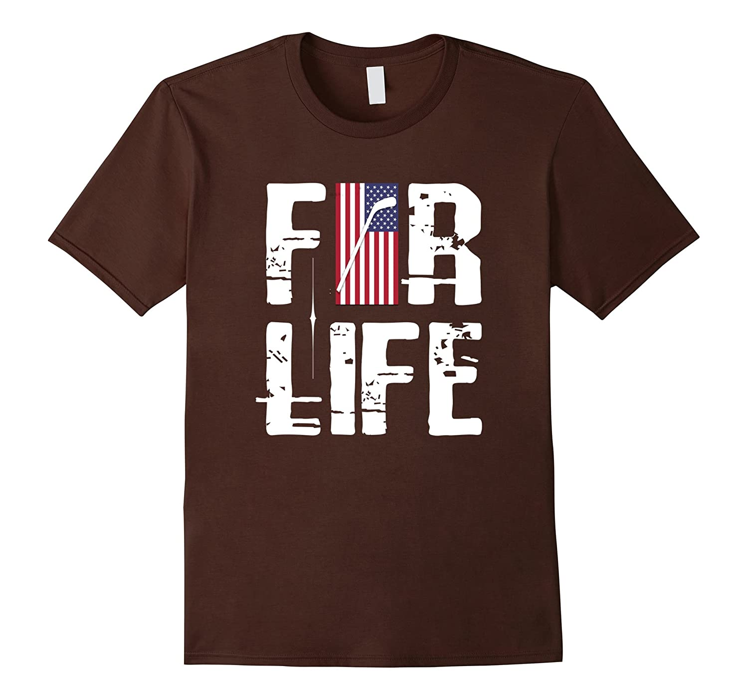 American Flag 4th of July 4 Hockey player For Life T-Shirt