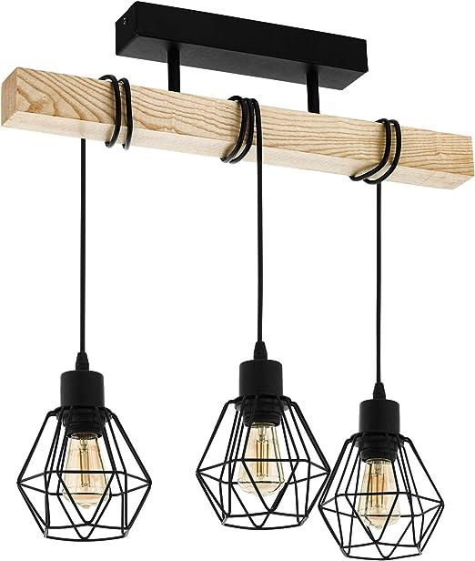 EGLO Deckenlampe Townshend 5, 3 flammige Vintage Deckenleuchte im Industrial Design, Retro Pendelleuchte aus Stahl und Holz, Farbe: Schwarz, braun,