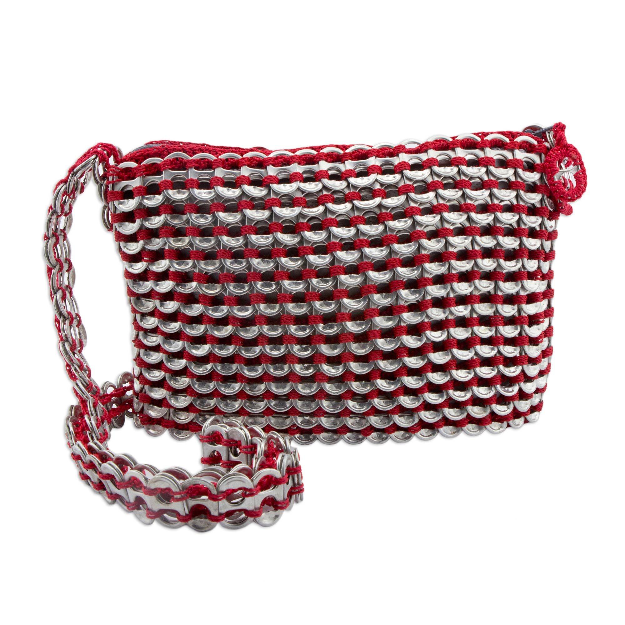 NOVICA Soda Pop-top Cosmetics Shoulder Bag, 'Chic Red'