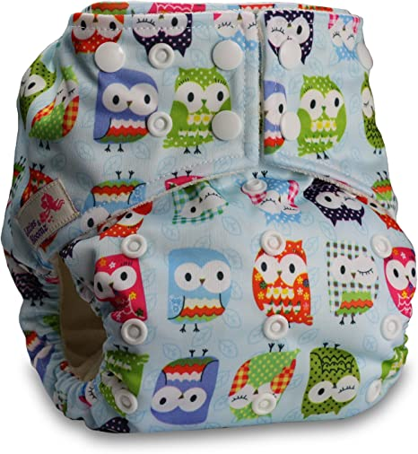 Baby Cloth Washable Reusable Nappy Pocket Diaper Bamboo Fastener: Popper Pattern 6 with 2 Microfibre Inserts Littles /& Bloomz