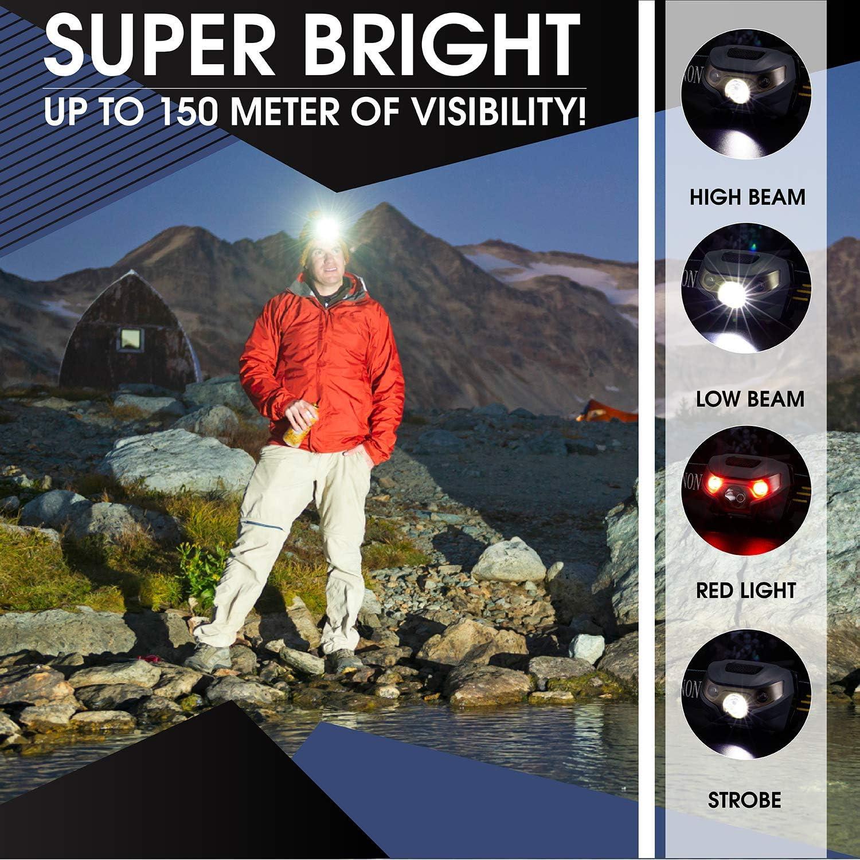 luz blanca totalmente regulable perfecta para correr senderismo y mucho m/ás Linterna frontal LED // linterna de cabeza ligera y c/ómoda 3 pi camping tambi/én tiene una opci/ón de luz roja y estrobosc/ópica brillante
