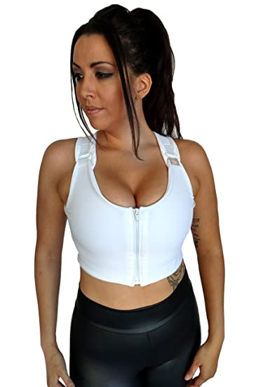 9587122b4f Brilliant Contours Post Surgical Comfort Compression Sports Bra  White  Dragonfly - XS