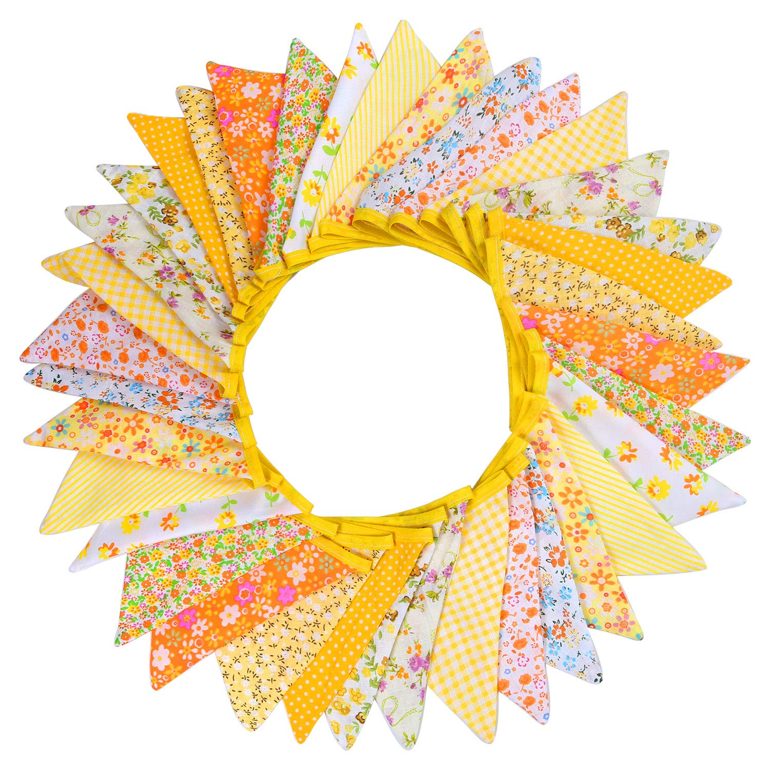 Tupa 36 Pieces Fabric Bunting Banner 36 Feet Multicolor Triangle Flag Garland Decoration with 12 Color for Wedding Birthday Parties