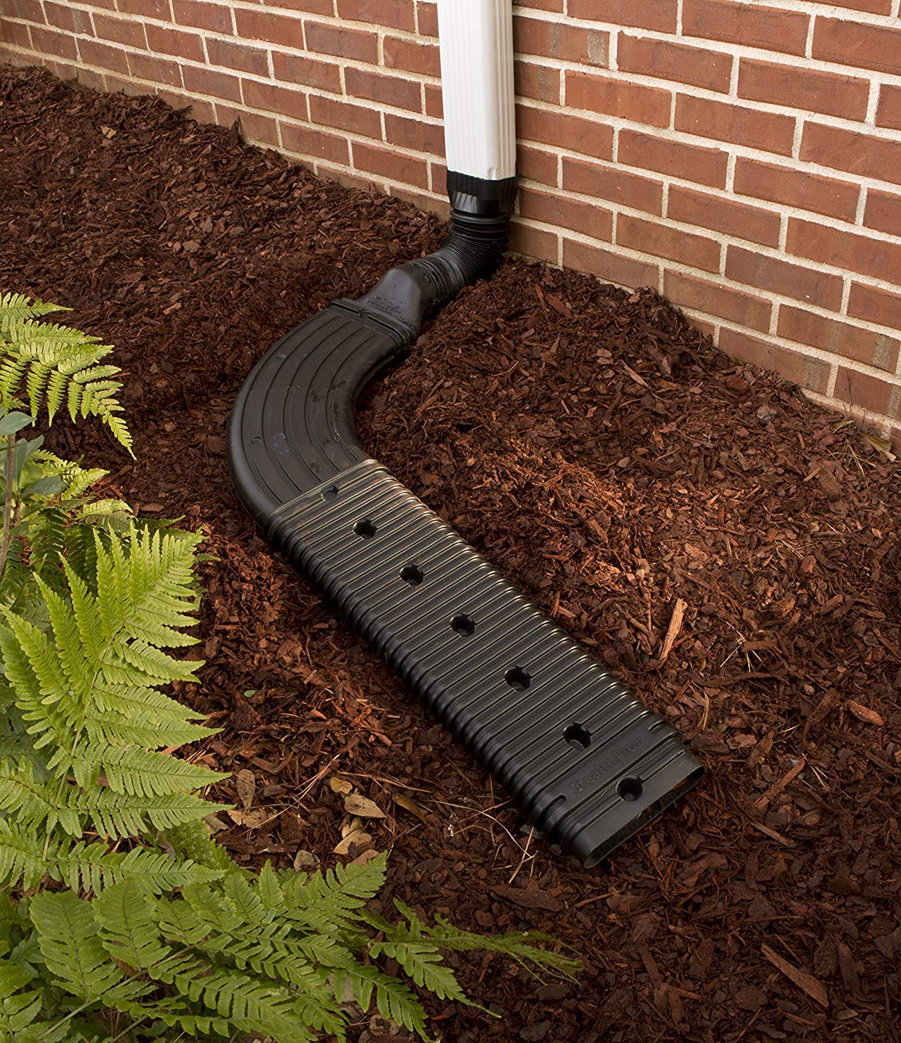 WholesalePlumbing Combo Pack Low Profile Downspout Adapter Drainage Kit with Additional 24-in Black Extension