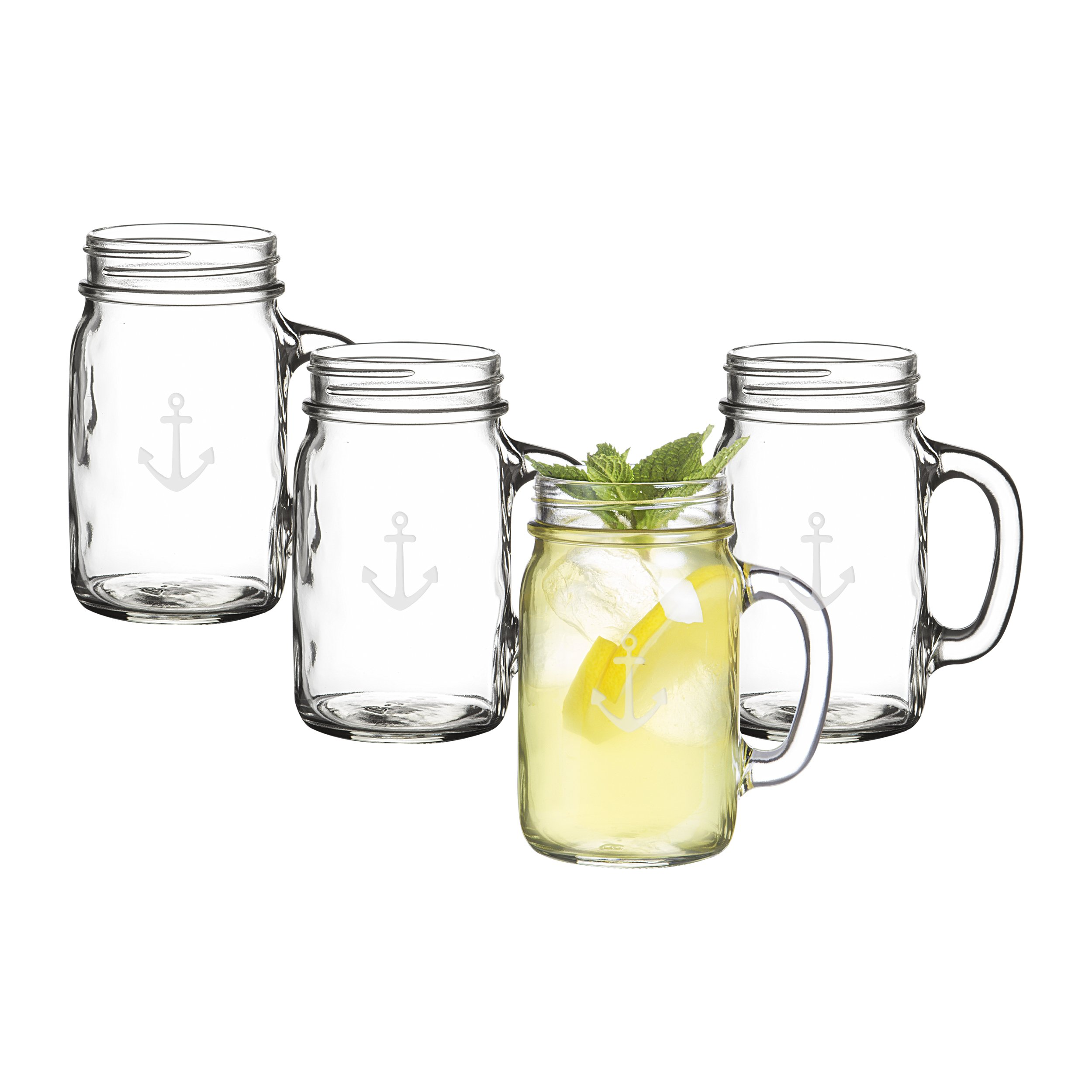 Cathy's Concepts CCA1190 Anchor Old Fashioned Drinking Jars Set Of 4