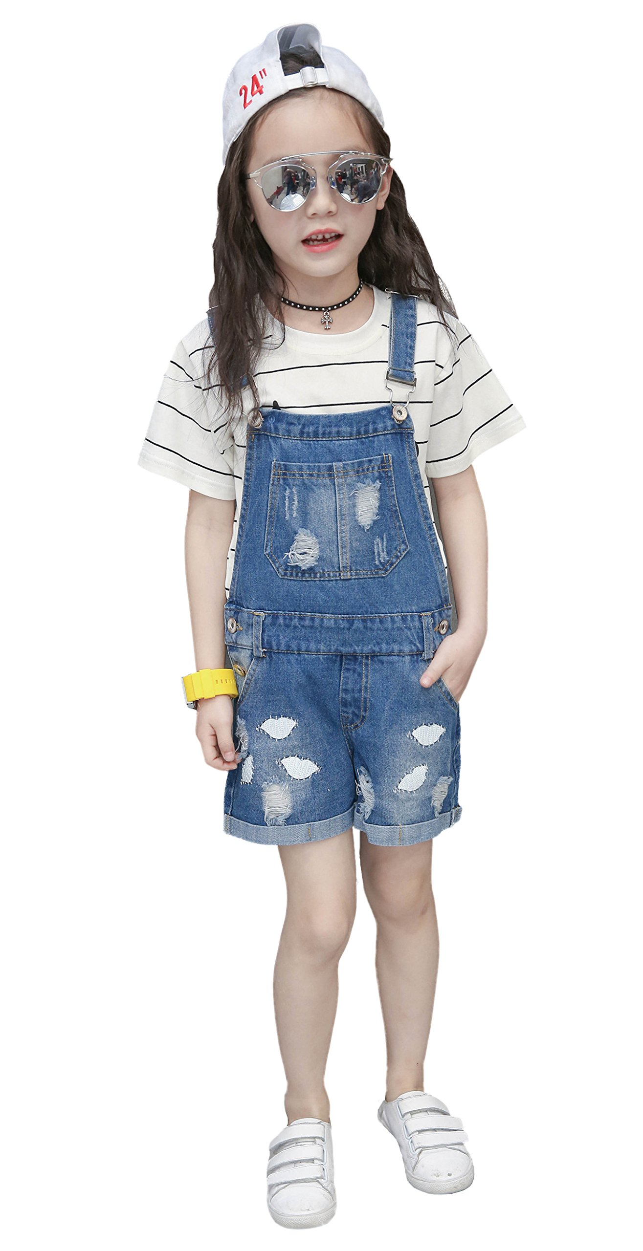 Kidscool Girls Big Bibs Ripped Summer Jeans Shortalls,Light Blue,10-11 Years