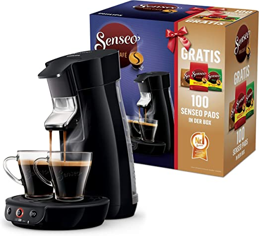 Philips Viva Cafe Senseo HD656167 Nr. 1 Cafetera monodosis (100 cápsulas en caja), color negro, plástico