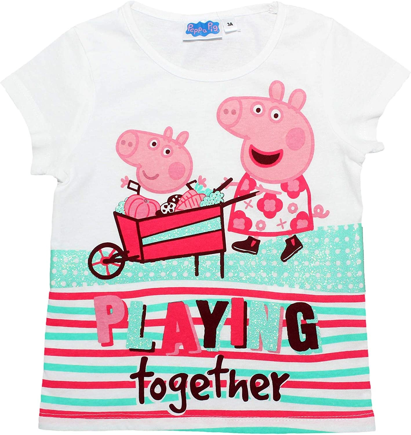 Peppa Pig T-Shirt /à Manches Courtes pour Fille Playing Together