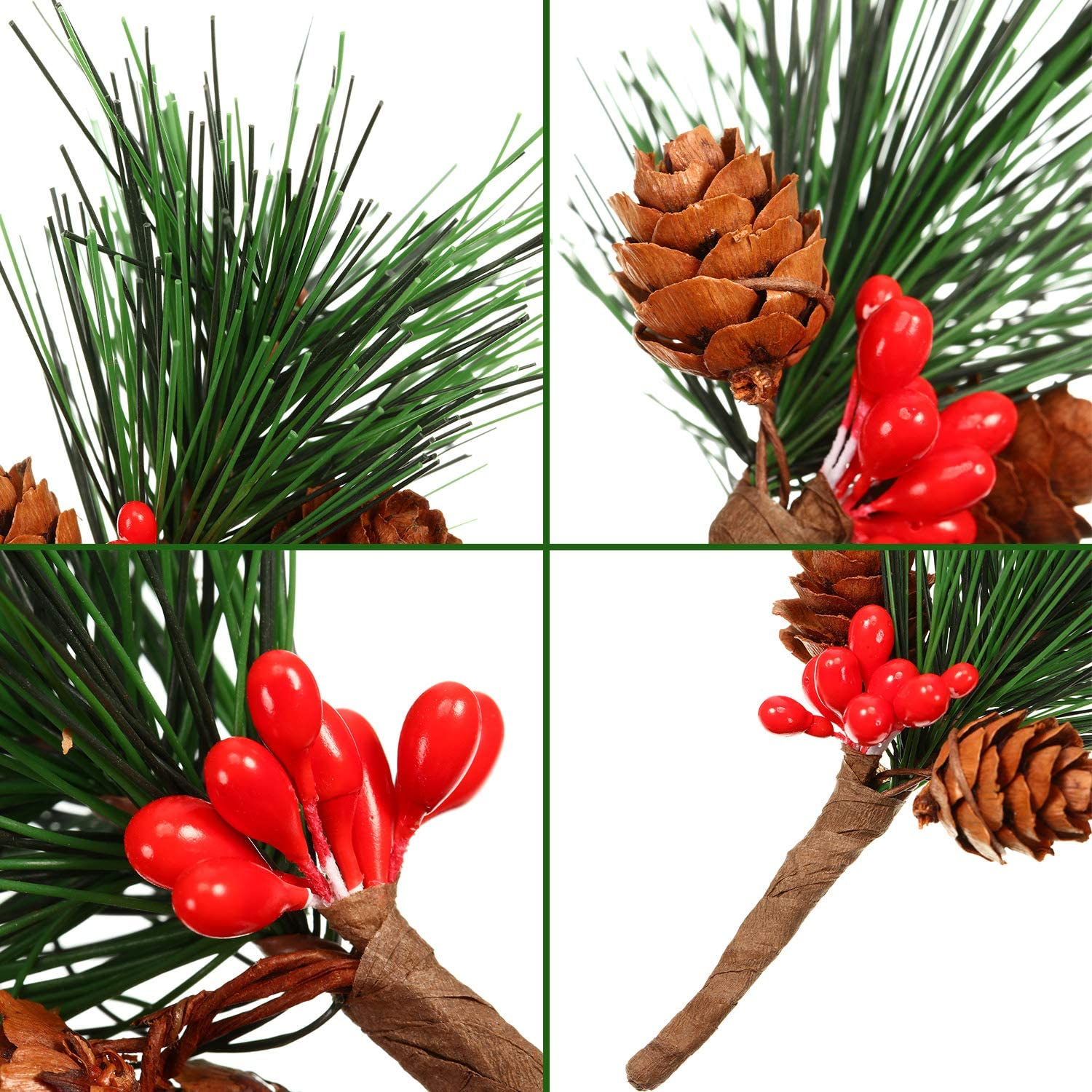 30 Pieces Artificial Pine Picks Small Pine Tree with Fake Berries for Christmas Tree Flower Arrangements Wreaths Wedding Garden Decorations