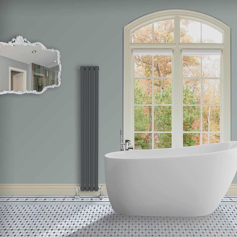 Simple Home | 1600 x 236 mm Radiador diseño Borvo brillante antracita horizontal panel soltero oval
