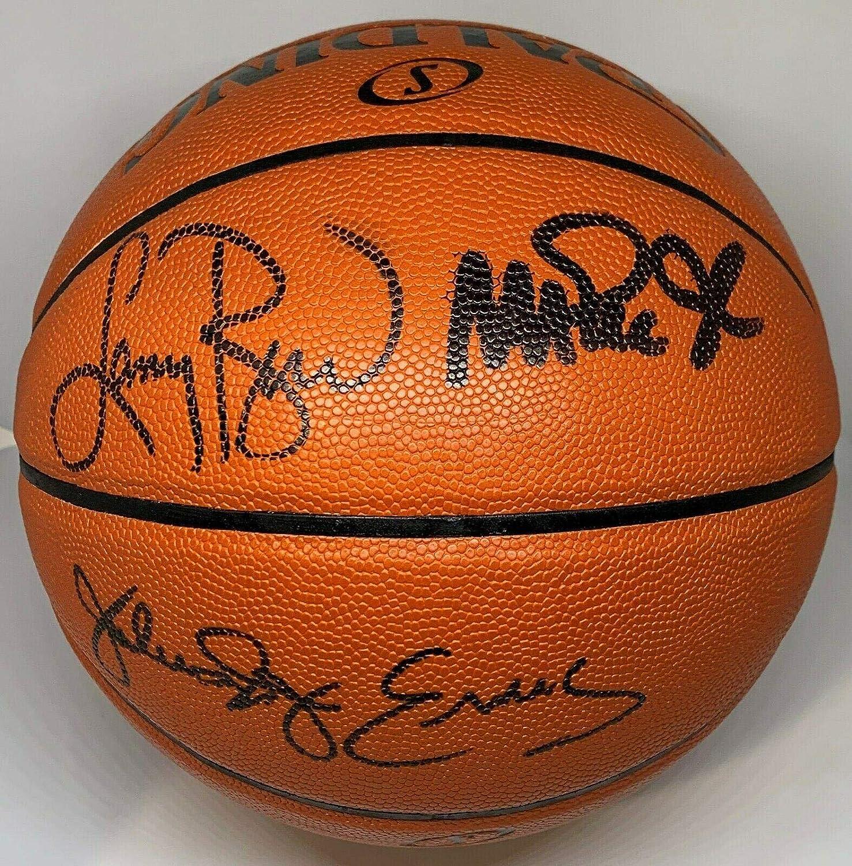 Magic Johnson Larry Bird Julius Erving Signed Autographed Basketball JSA Beckett - Autographed Basketballs