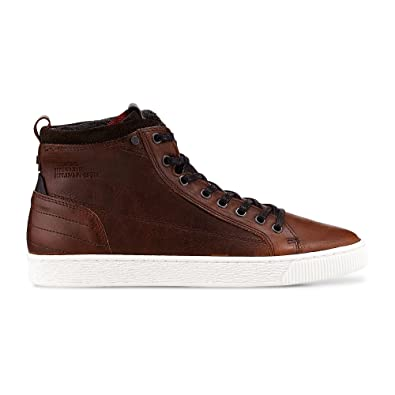 Cox Herren Freizeit Schnürer aus Leder, High Sneaker in Braun mit Rutschfester Sohle