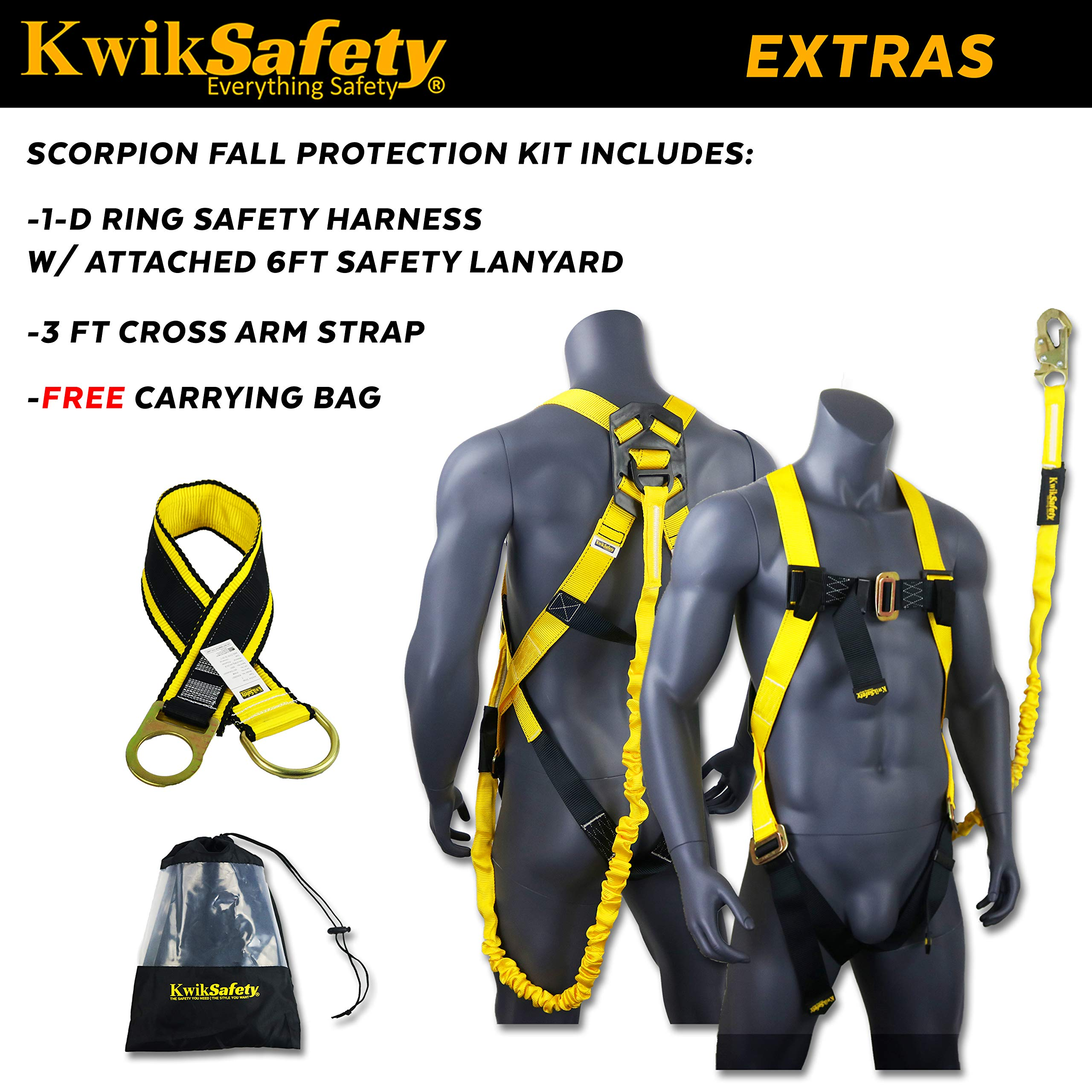 KwikSafety (Charlotte, NC) SCORPION KIT   1D Full Body Safety Harness, 6' Lanyard Attached, 3' Cross Arm Strap Anchor ANSI OSHA PPE Fall Protection Arrest Restraint Construction Roofer Bucket by KwikSafety (Image #3)