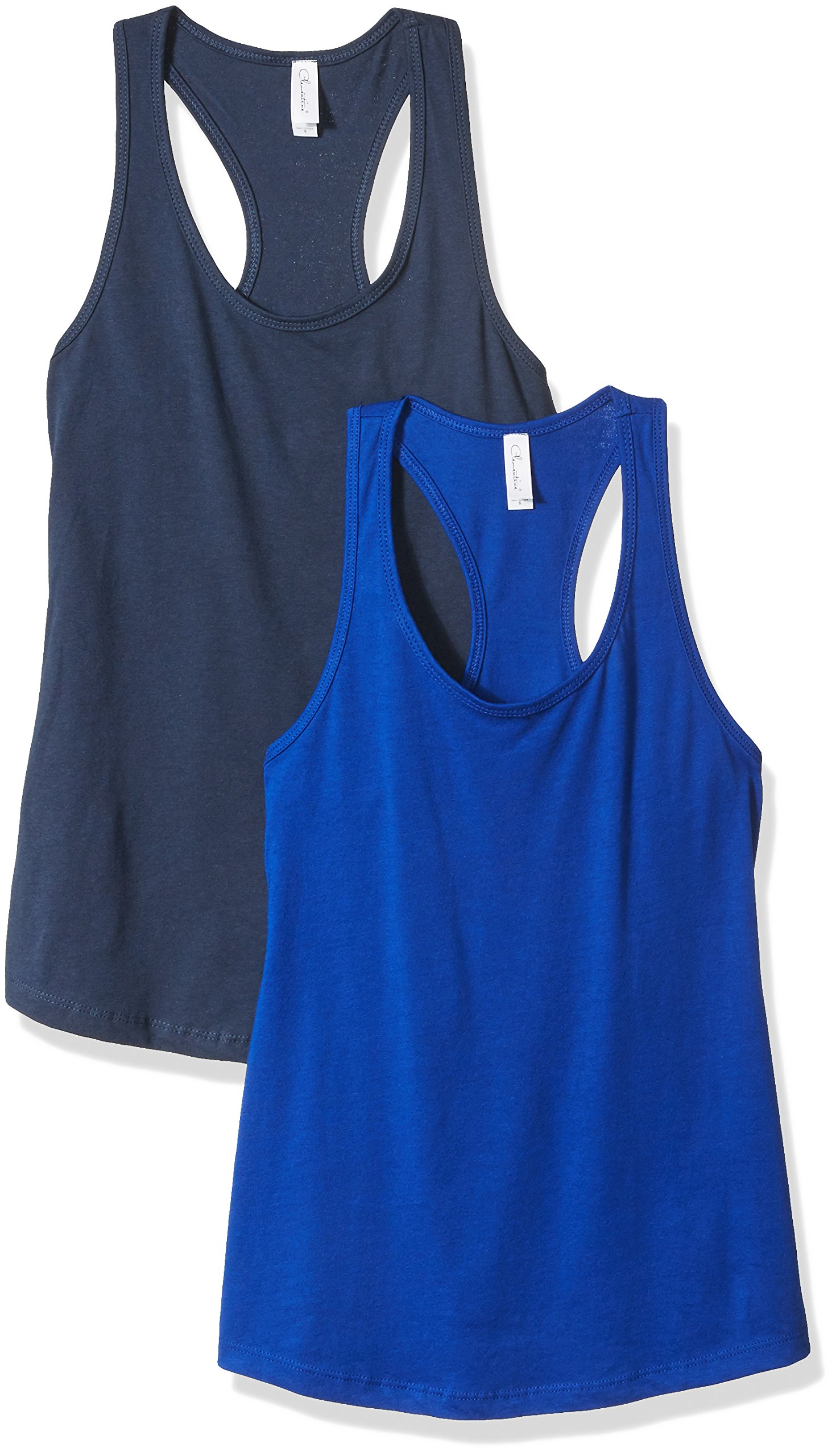 Clementine Apparel Women's Petite Plus Ideal Racerback Tank Tops (Pack of 2), IndigoRoyal, XL
