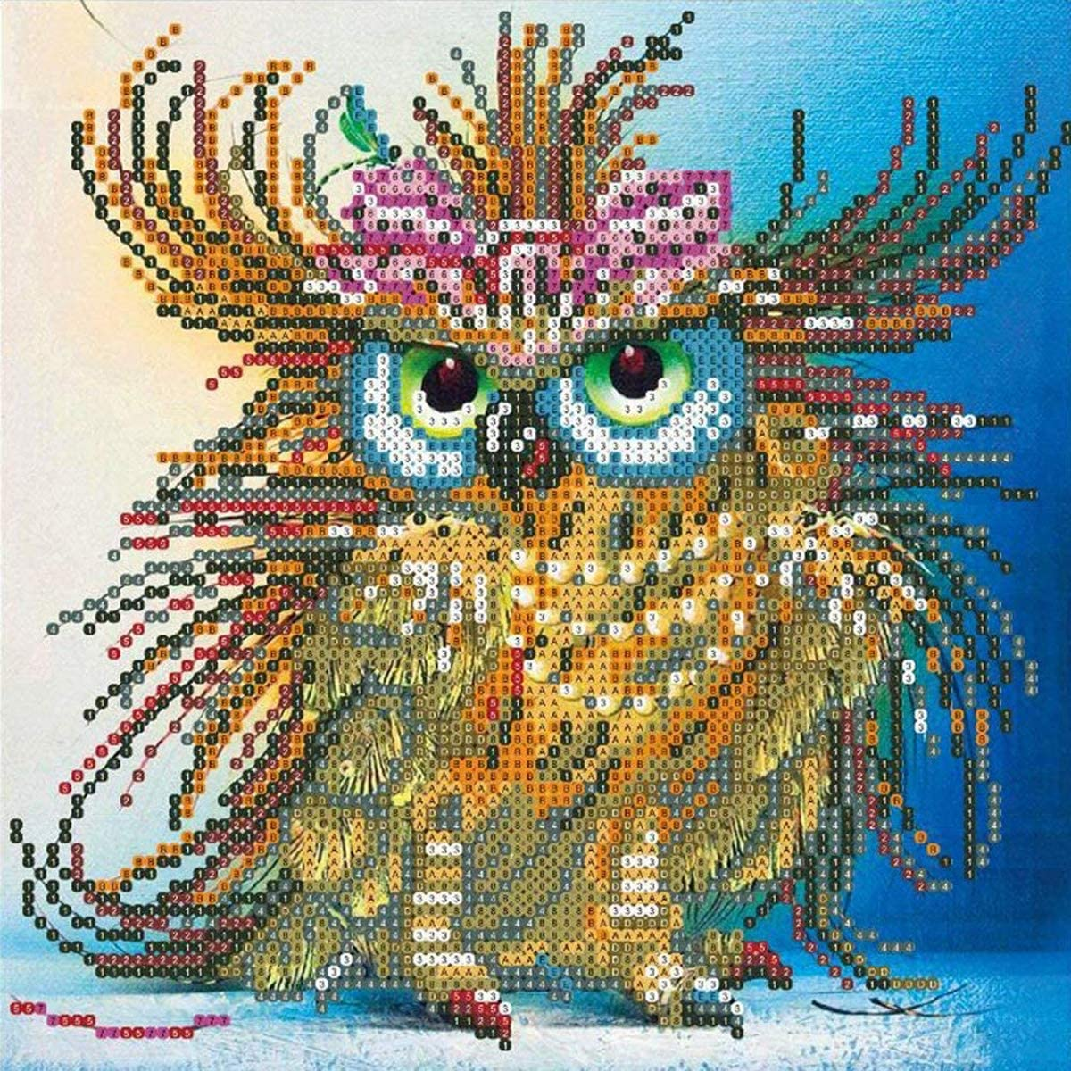Round Diamond Lovely Owl Embroidery Rhinestone Cross Stitch Arts Craft Supply for Home Wall Decor 11.8x11.8 inch DIY 5D Diamond Painting Kit