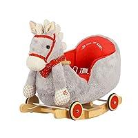Dunjo® Cavallino a dondolo grigio con poltroncina in peluche, basculante in legno per dondolare, ruote per andare al galoppo e divertentissima suoneria