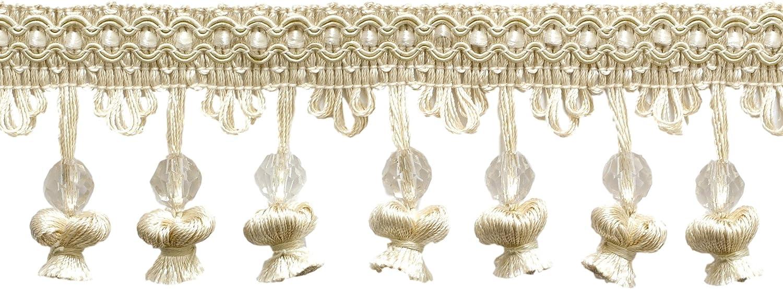 Sold by The Yard Ivory // Ecru A2 2 1//2 Beaded Onion Tassel Fringe