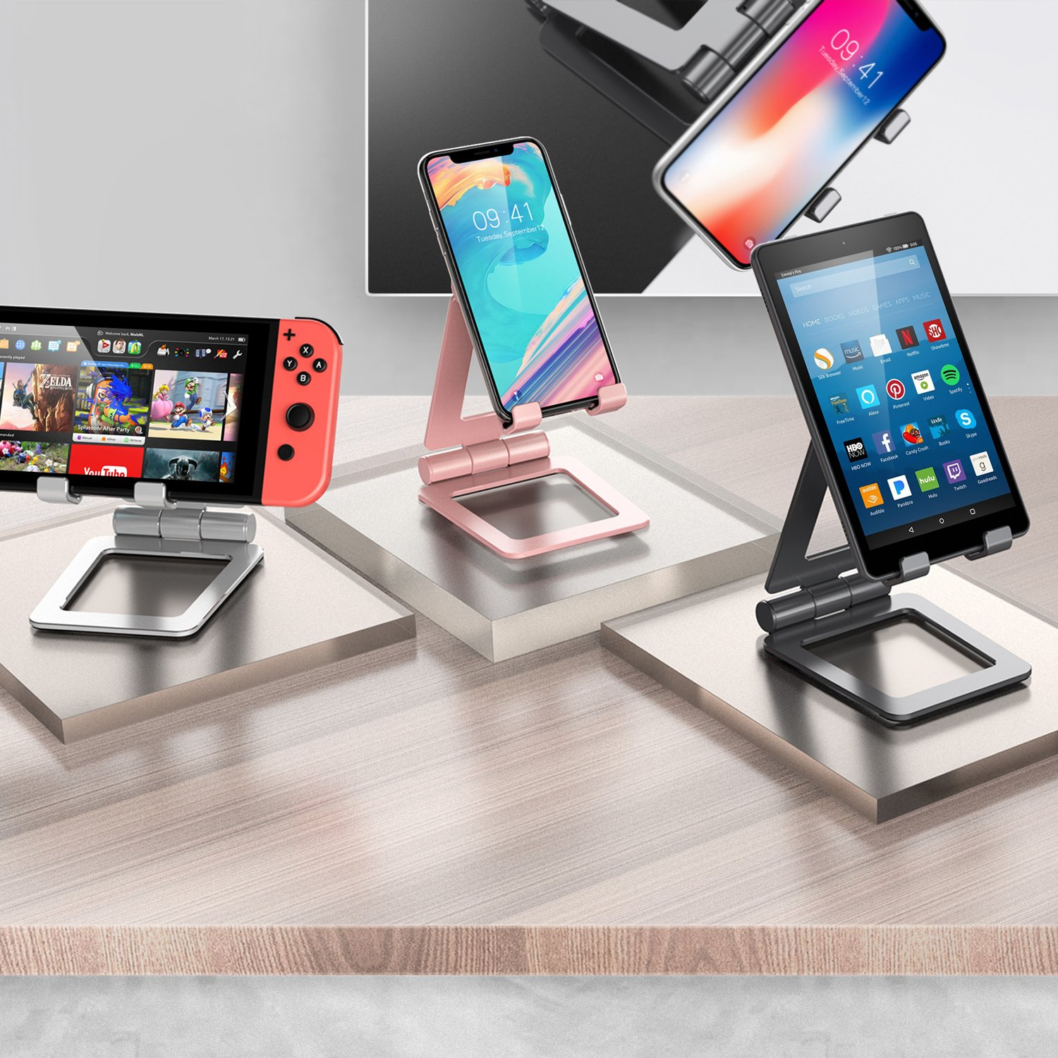 Adjustable iPad Stand, Tablet Stand Holders, Cell Phone Stands, iPhone Stand, Nintendo Switch Stand, iPad Pro Stand, iPad Mini Stands and Holders for Desk (4-13 inch) by Hi-Tech Wireless (Image #2)