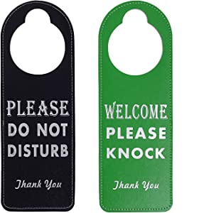 Kichwit Do Not Disturb Sign, 2 Pack Door Knob Hanger Sign, Welcome Please Knock Sign (Black + Green)