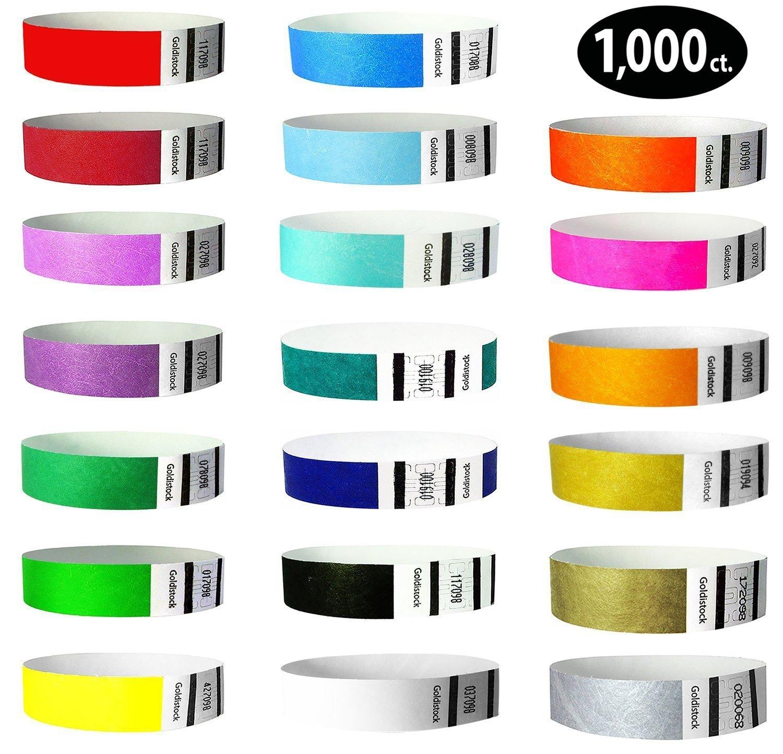Goldistock 3/4'' Tyvek Wristbands Top Twenty Variety Pack 20 Colors 1,000 Ct.- Green (2 Shades), Blue(3 Shades), Red(2), Orange(2), Purple(2), Gold(2), Yellow, Pink, Silver, Aqua, White, Black, Teal